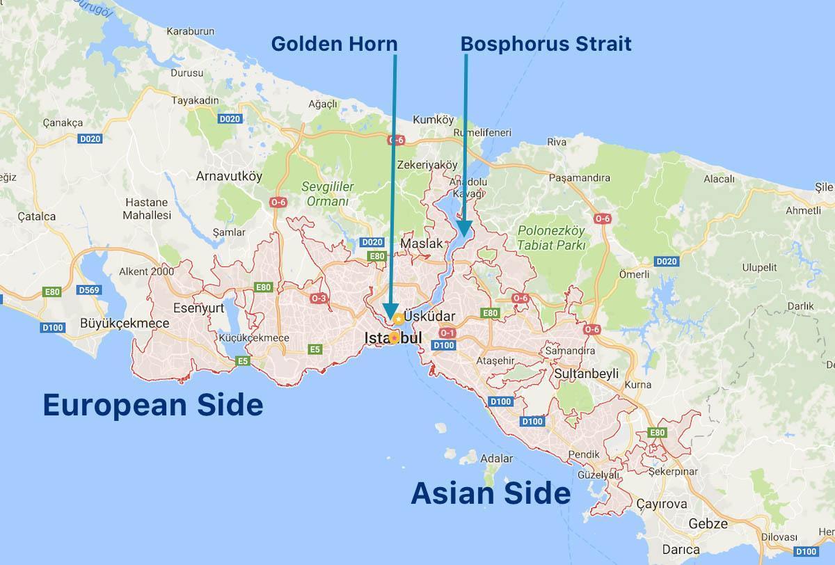 Istanbul Asian Side Karta Istanbul Europeiska Sidan Kartan Turkiet