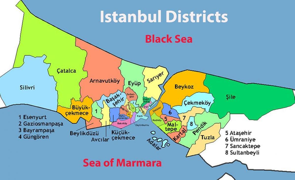 Istanbul Distrikt Karta Karta Over Istanbul Omrade Turkiet
