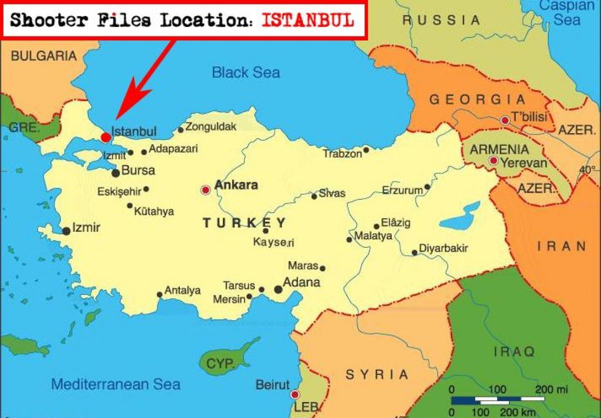 Istanbul Turkiet Karta Karta Over Istanbul Och Omgivande Lander